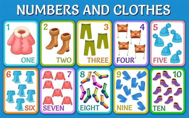 Cartoon winter clothes.