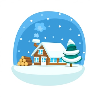 Cartoon winter house scene with lumber and pine tree