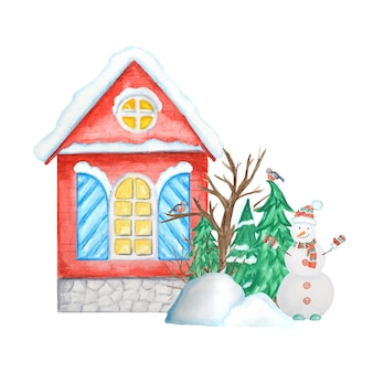 Cartoon winter house with bullfinch bird couple, snowman, snowdrifts, christmas tree.