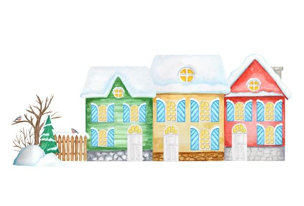木製のフェンスとウソの鳥のカップル、雪のドリフト、クリスマスツリーと漫画の冬の家。水彩の新年のグリーティングカード、ポスター、テキストのコピースペースとバナーのコンセプト。正面図。