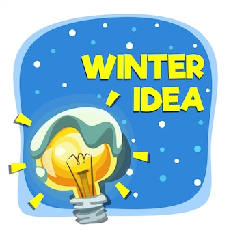 Cartoon winter idea with lamp bulb and snow