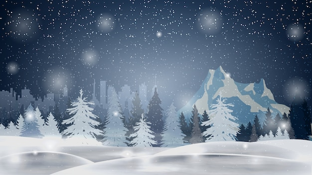 Cartoon winter landscape with pine forest, mountain and city on horizont