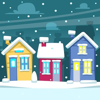 Cartoon winter neighborhood house scene illustration