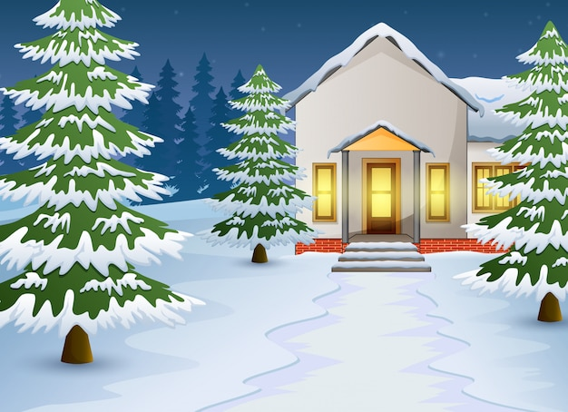 Cartoon of winter night landscape with house and snow on the street