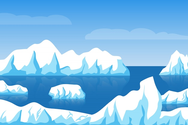 Cartoon winter polar arctic or antarctic ice landscape with iceberg in sea