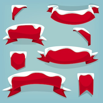 Cartoon winter red ribbon template collection with snow
