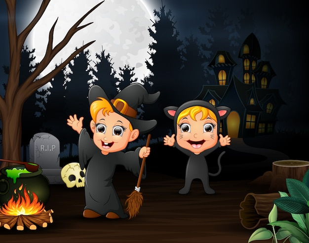 Cartoon of witch and cat outdoors in the night