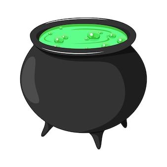 Cartoon witch cauldron isolated on white