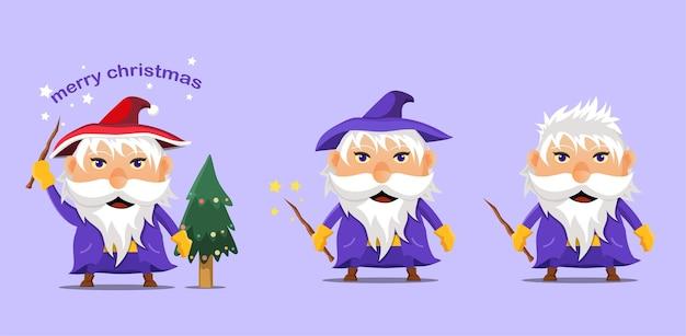 Cartoon witch celebrating christmas. icon.