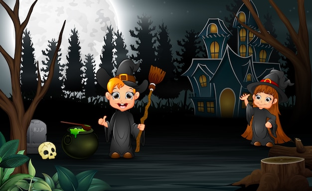 Cartoon witch celebration of halloween