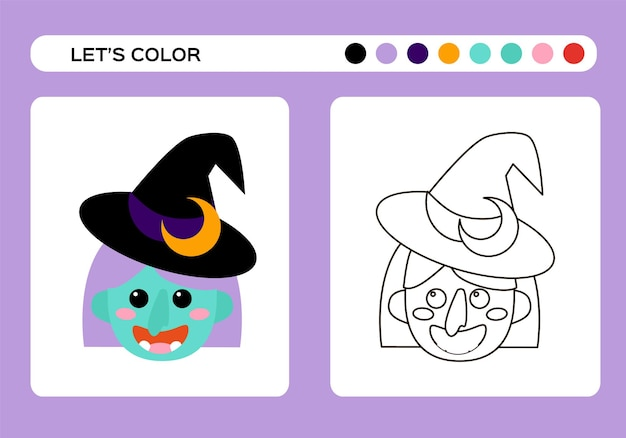 Cartoon witch color book. coloring education for kids. happy halloween game