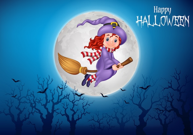 Cartoon witch flying use a broomstick