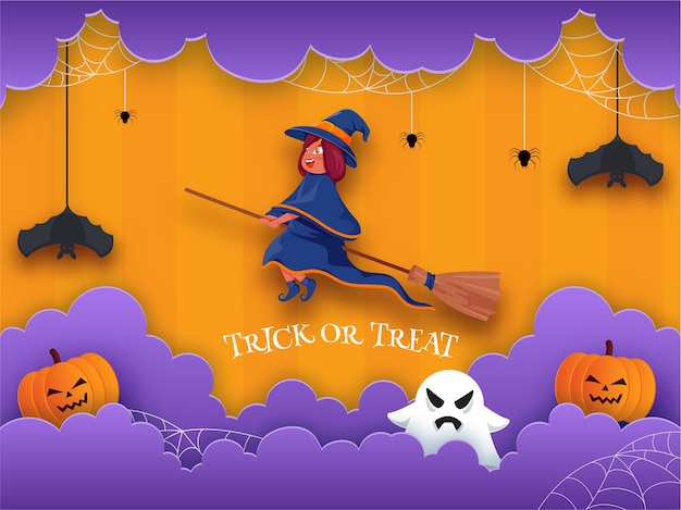 Cartoon witch flying with broom, spooky pumpkins, ghost, hanging bats, spider web and purple paper cut clouds on orange background for trick or treat.