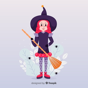 A cartoon witch flying with a broomstick