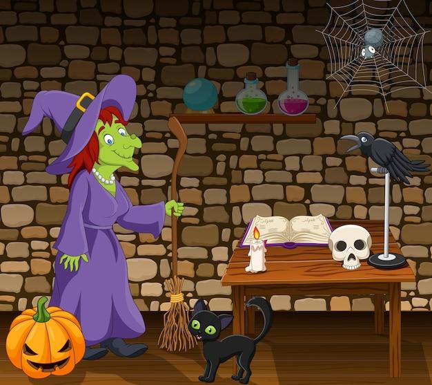 Мультяшная ведьма, держащая метлу в комнате