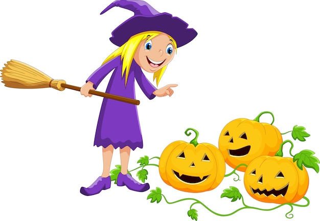 Cartoon witch and pumpkin