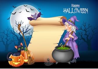 Cartoon witch stirring magic potion