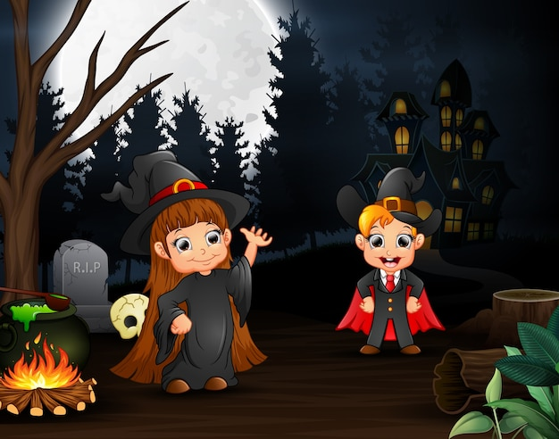 Cartoon of witch and vampire outdoors in the night