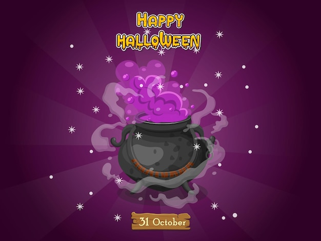 Cartoon witches cauldron. concept cartoon halloween elements of magic, witchcraft, boiling potions. vector clipart illustration isolated on color background
