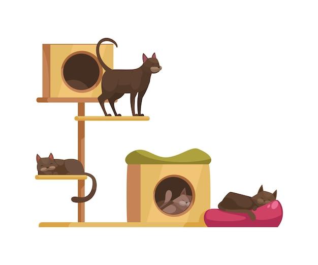Мультфильм с милыми кошками, сидящими и спящими на кошачьем дереве с когтеточками