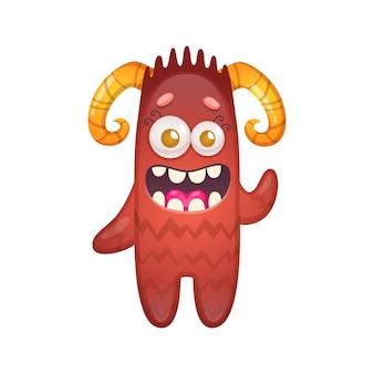 Cartone animato con illustrazione divertente del mostro rosso felice