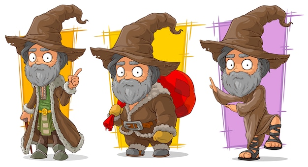 Cartoon wizard with big hat character