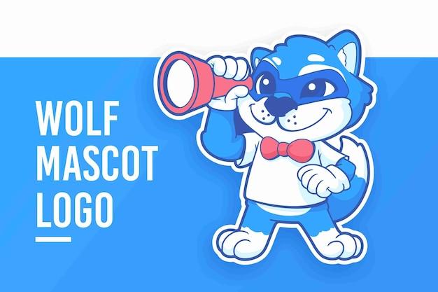 漫画のオオカミのマスコットのロゴ