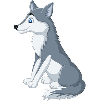 Cartoon wolf sitting on white
