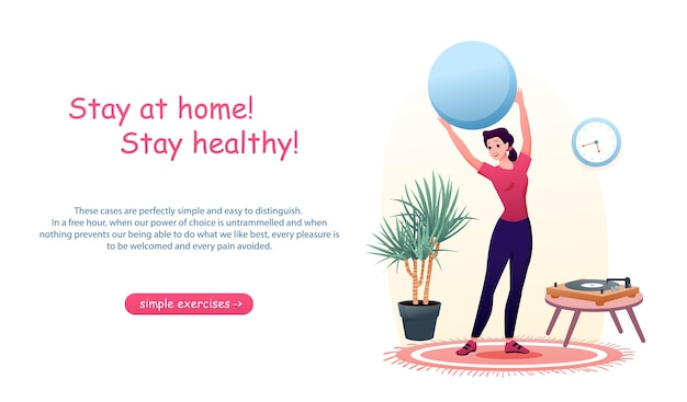 Cartoon woman active does sport exercises with ball at home. coronavirus concept