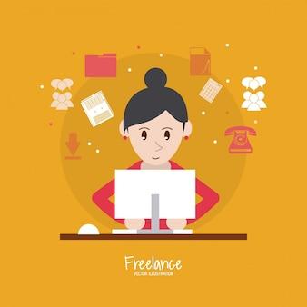 Cartoon woman and freelance