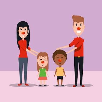 Мультфильм женщина и мужчина с детьми с красными носами