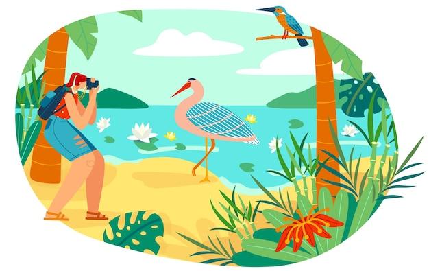 Мультфильм женщина орнитолог фотограф фотографирует