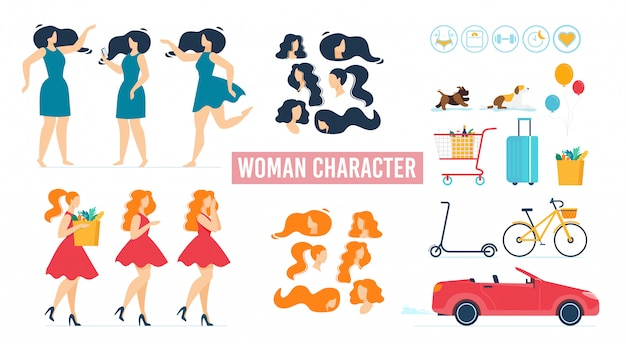 Cartoon woman character in dress animated set