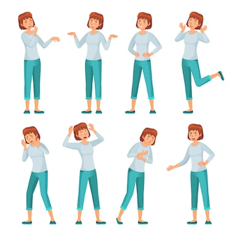 Cartoon woman character emotions. women facial emotion, young female in casual clothing and smiling happy woman vector set