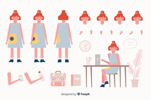 Шаблон персонажа из мультфильма женщина