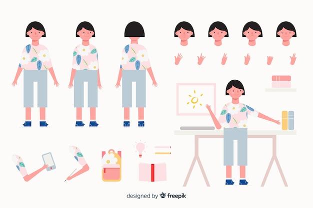 Cartoon woman character template