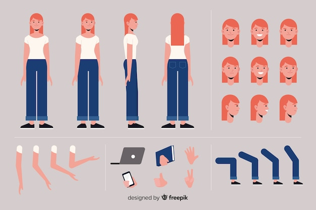 Cartoon woman character template