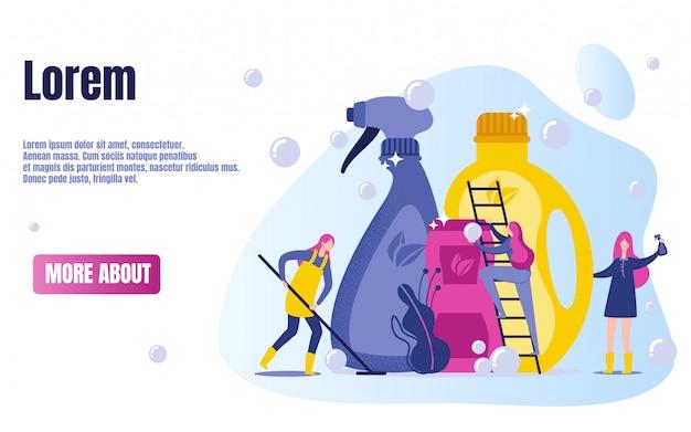 Cartoon woman characters washing floor .