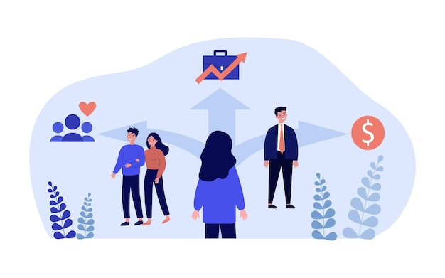 Cartoon woman choosing between relationships, job and money. female standing at crossroads flat vector illustration. choice, love, career, finances concept for banner, website design or landing page