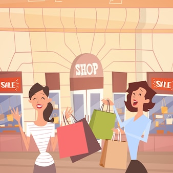 Cartoon woman couple with shopping bag big sale banner retial store exterior