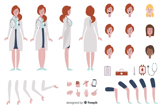 Cartoon woman doctor character template