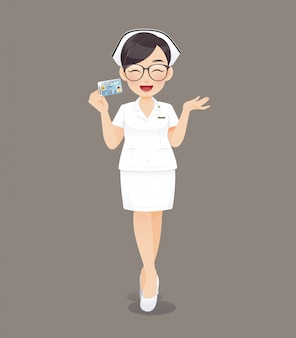 Cartoon woman doctor or nurse wearing brown glasses in white uniform holding id card, smiling female nursing staff