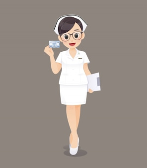 Cartoon woman doctor or nurse wearing brown glasses in white uniform