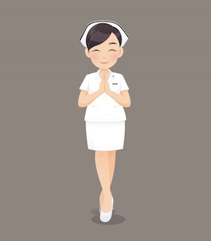 Cartoon woman doctor or nurse in white uniform holding a clipboard, smiling female nursing staff