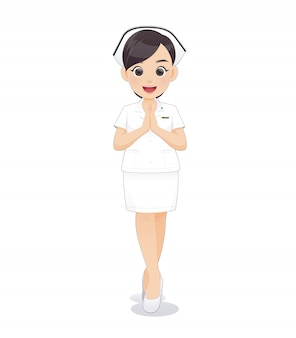 Cartoon woman doctor or nurse in white uniform holding a clipboard,