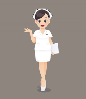 Cartoon woman doctor or nurse in white uniform, smiling female nursing staff