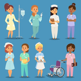 만화 여자 의사 간호사 소녀 회의 병원 사람들 간호사 캐릭터 여성 유니폼 간호사