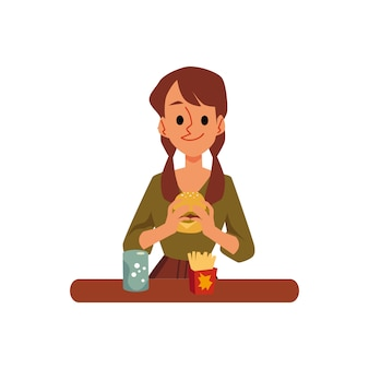 Cartoon woman eating junk fast food - burger and french fries