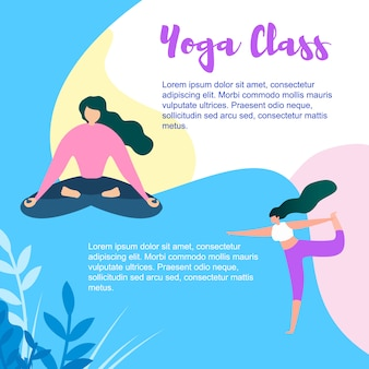 Cartoon woman exercise and meditate in yoga class
