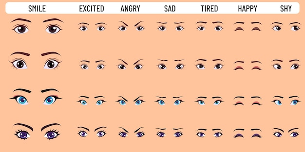 Cartoon woman eye collection expressing different emotions